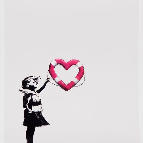 BANKSY (né en 1974) D'APRES & POST MODERN VANDAL Girl with heart shaped float. S…