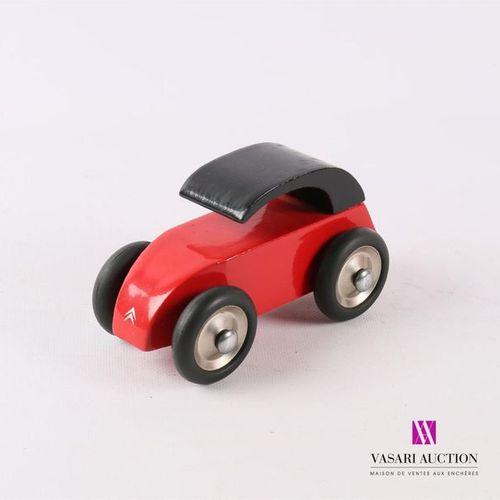 VILAC 2 CV stylisée en bois peint rouge et noir Porte étiquette au revers (infim…