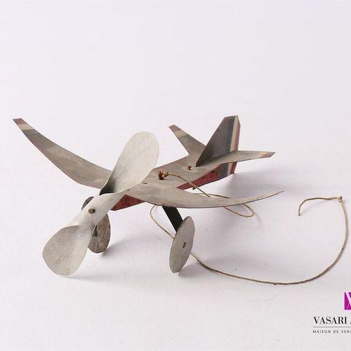 Mobile en aluminium et bois d'avion vol circulaire Travail artisanal (salissures…