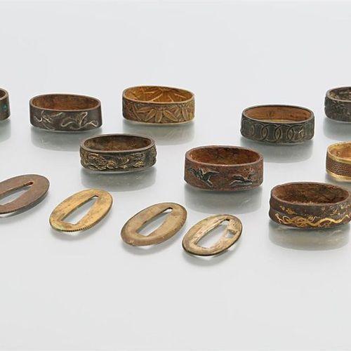 Lot de neuf fushis en bronze, en cuivre et en fer, à décor de pousses de bambou,…