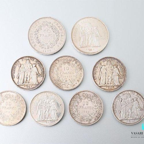 Lot of seven 10 Francs coins, French Republic Hercules 1965 (3),1966 ,1967 (3) a…