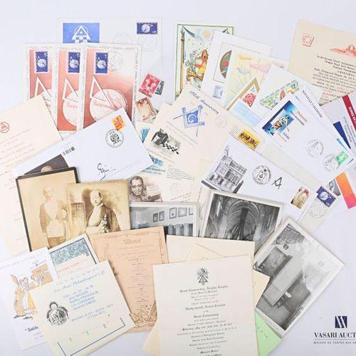 [FRANC MACONNERIE DOCUMENTS] Ensemble de documents comprenant trois cartes, cinq…