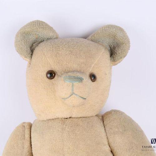 Beige and green teddy bear XXth century High. : 61 cm