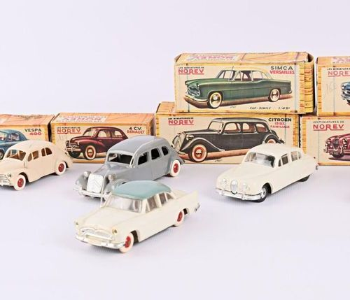 NOREV Set of six vehicles 1/43 scale in plastic : Vespa 400 white 4 HP Renault b…
