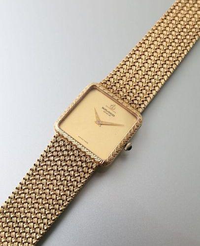 Baume et Mercier, montre bracelet d'homme des années 1970, en or jaune 750 milli…