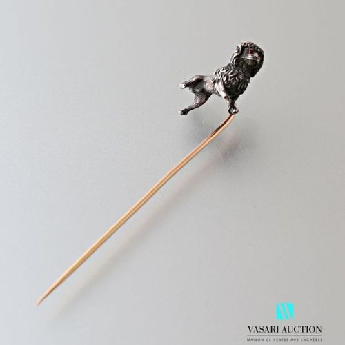 Pin, the stem in 750 thousandths pink gold, with a dog motif in 925 thousandths …