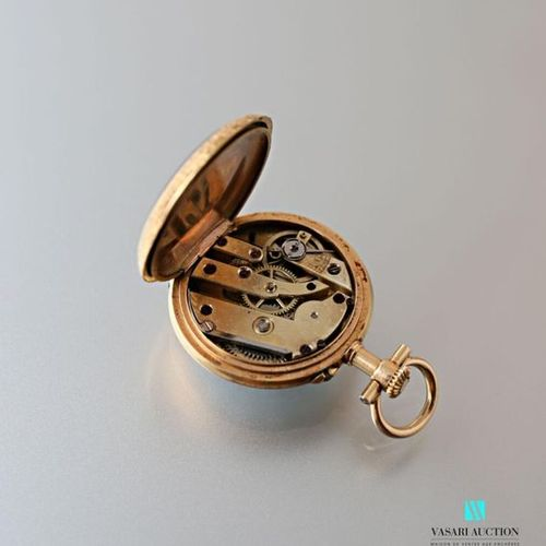 Watch with 750 thousandths yellow gold necklace, white enamelled dial, red ename…