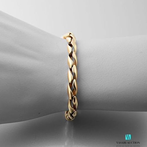 Yellow gold bracelet 750 thousandths undulating double mesh, clasp snap hook dec…
