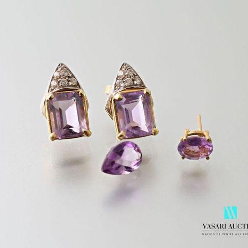 Pair of 750 thousandths gold earrings set with rectangular amethyst imitation vi…