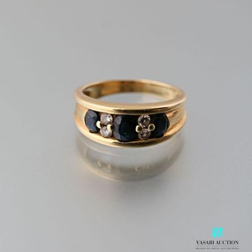 750 thousandths yellow gold ring set with three oval sapphires alternating with …