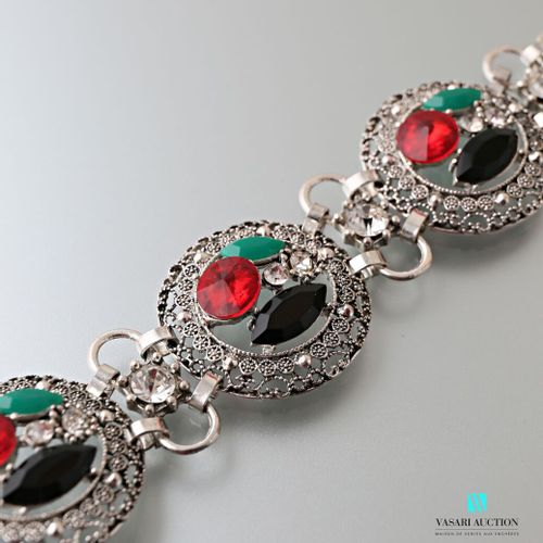 Metal bracelet decorated with three medallions with fancy stones, the border fil…