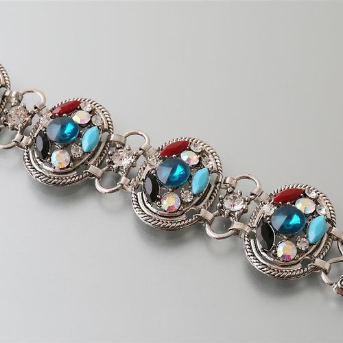 Bracelet decorated with four medallions set with coloured fantasy stones  Length…