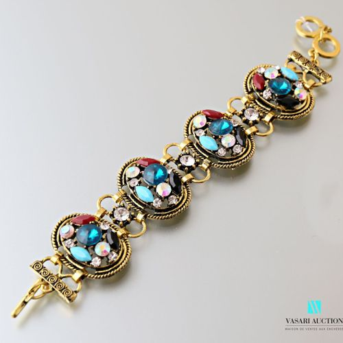 Brass bracelet decorated with four medallions decorated with fancy stones  Lengt…