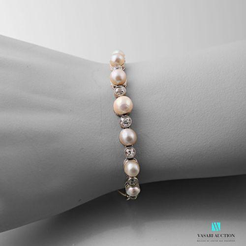 Soft Art Deco bracelet in platinum 850 thousandths mesh shuttle, the center deco…