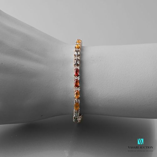 Line bracelet in silver set with multicoloured sapphires, clasp with lobster cla…