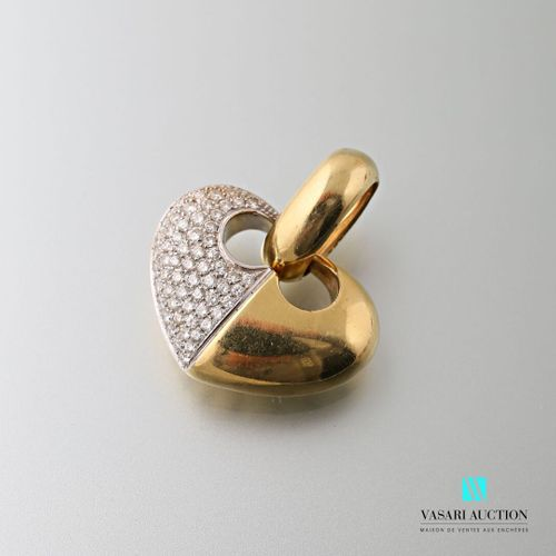 Chimento, 750 thousandths gold heart pendant, half of the heart paved with brill…