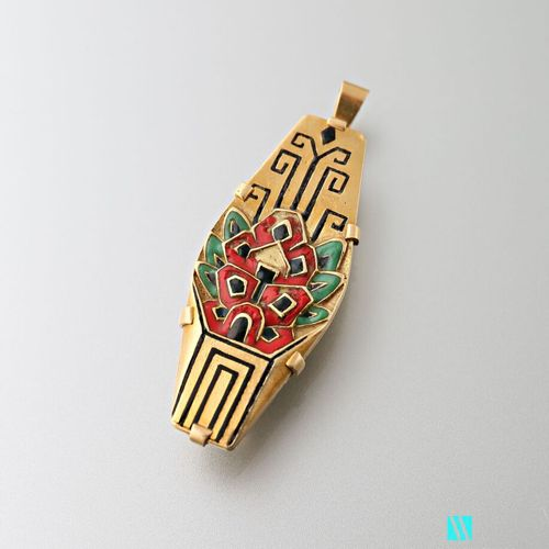 Art Deco brooch pendant in 750 yellow gold with polychrome enamel decoration of …