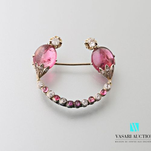 Art Deco platinum half moon brooch set with pink tourmalines and antique cut dia…