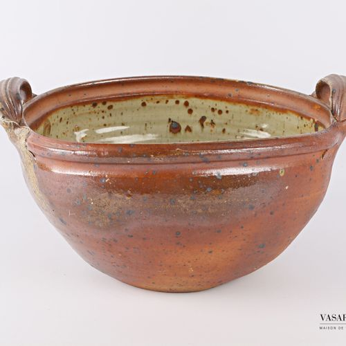 ASTOUL Éric (Born 1954) Attributed to  A round stoneware salad bowl with two sid…