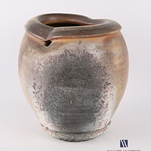 ASTOUL Éric (Born in 1954)  Ovoid stoneware vase, the pinched neck in the centre…
