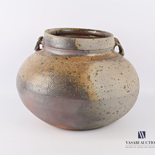ASTOUL Éric (Born in 1954)  Vase with belly in stoneware with stamped decoration…