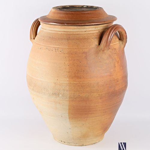 ASTOUL Éric (Born in 1954)  Important covered stoneware vase of ovoid shape with…