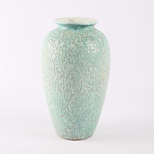 C.A.B. (Céramique d'Art de Bordeaux)  Oblong vase in glazed terracotta with gree…
