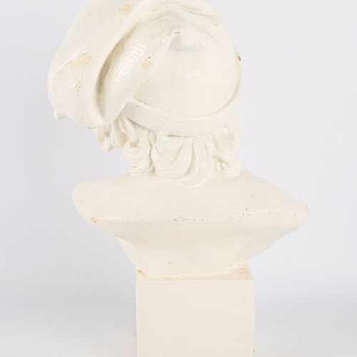 R. FARLY  Bust of a young Neapolitan fisherman  White painted terracotta  Signed…
