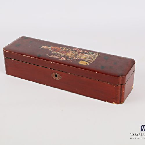 Rectangular glove box made of boiled lacquered cardboard with printed decoration…