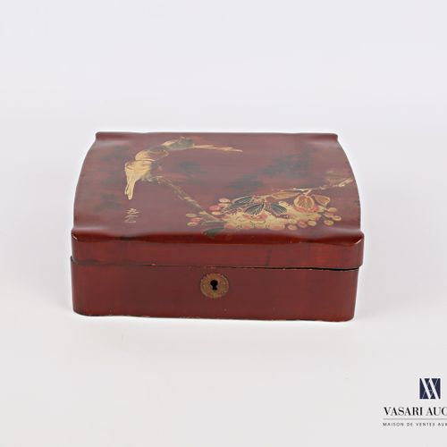 Cushion shaped box made of boiled lacquered cardboard with polychrome decoration…