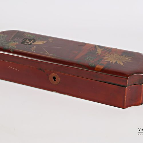 Rectangular glove box with concave corners made of boiled lacquered cardboard wi…