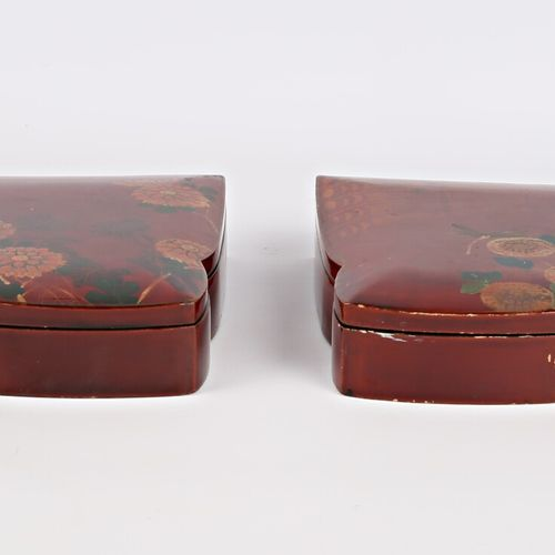 Pair of trapezoid shaped boxes with pinched sides in boiled lacquered cardboard …