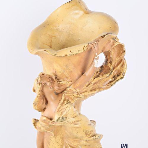 Plaster soliflore vase with polychrome patina showing an elegant draped arum flo…