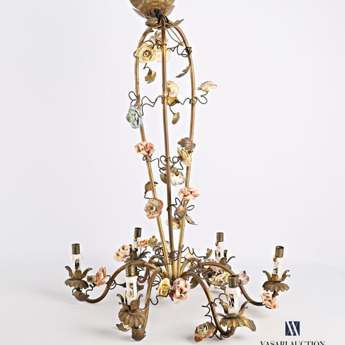 Brass chandelier with six light arms decorated with porcelain rosebuds  High. : …