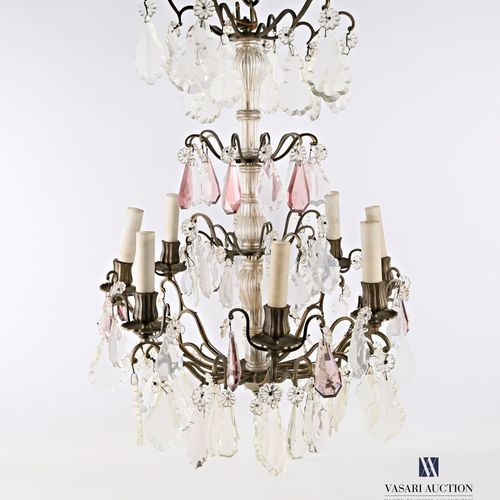 Metal cage chandelier with eight arms of light, crystal pendants  (wears)  High.…