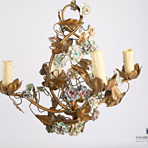 Brass chandelier with four light arms decorated with porcelain rosebuds  High. :…