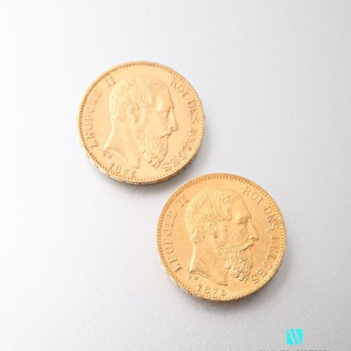 Two 20 franc gold coins Leopold II, 1875  weight : 12,88 g
