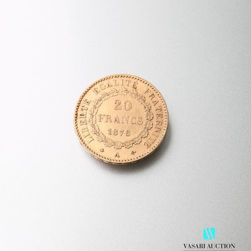 Gold coin, 20 francs, French Republic, Genie 1878 A after Augustin Dupré  Weight…