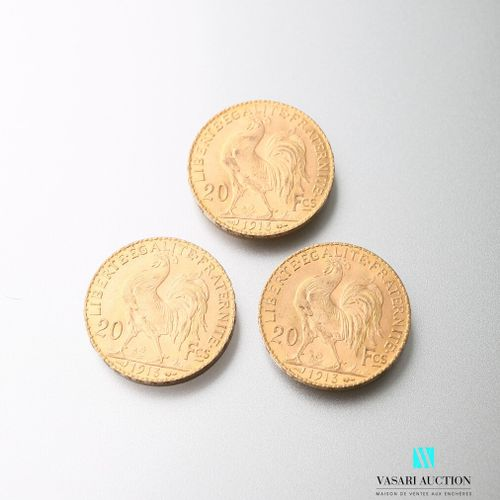 Three gold coins, 20 francs, French Republic, Marianne 1913 after Jules Clément …