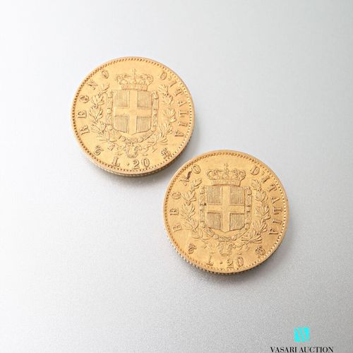 Two 20 lira gold coins, Vittorio Emanuele II, 1863  weight : 12,84 g