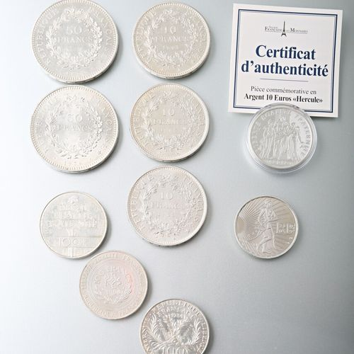 A batch of silver coins :  2 of 50 francs Hercules, 1976 and 1978,  3 of 10 fran…