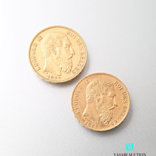Two 20 franc gold coins Leopold II, 1877  weight : 12,85 g