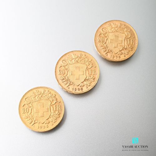 Three 20 Swiss franc gold coins, Vreneli, 1935  weight : 19,34 g