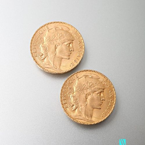 Two 20 franc gold coins featuring Marianne and the Rooster after Jules Clément C…