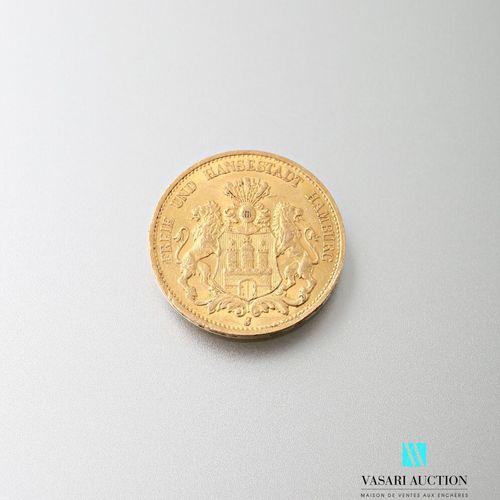 20 mark gold coin, Hamburg, 1895  weight: 7.95 g