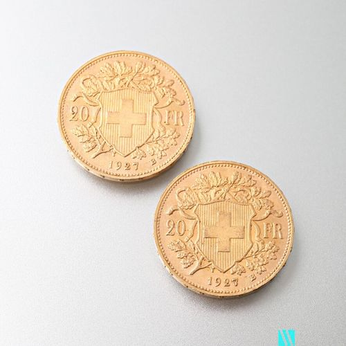 Two 20 Swiss franc gold coins, Vreneli, 1927  weight : 12,89 g