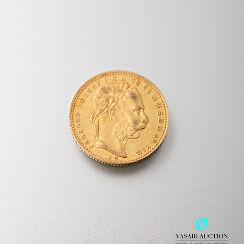 Gold coin of 20, francs or 8 forint, Francois Joseph I 1881  weight : 6,44 g