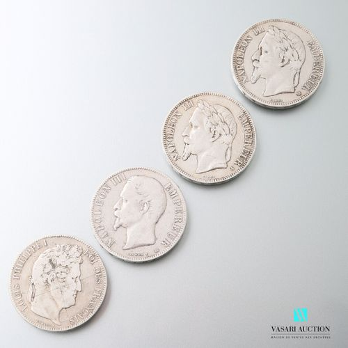 Lot including two silver coins of 5 francs in silver figuring Napoleon III head …