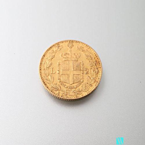 20 L gold coin, Humbert I, 1882  weight : 6,44 g