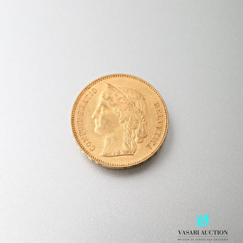Gold coin of 20 Swiss francs, Confederation, 1895  weight : 6,45 g